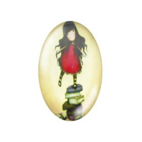 Glass cabochon with graphics oval 13x18mm PT1175 / cream-red / 2pcs