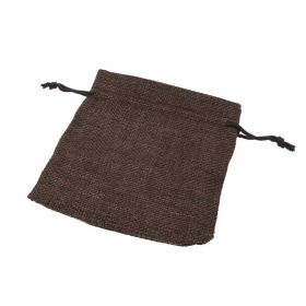 Linen bag / 9.5x11.5cm / brown / 5pcs