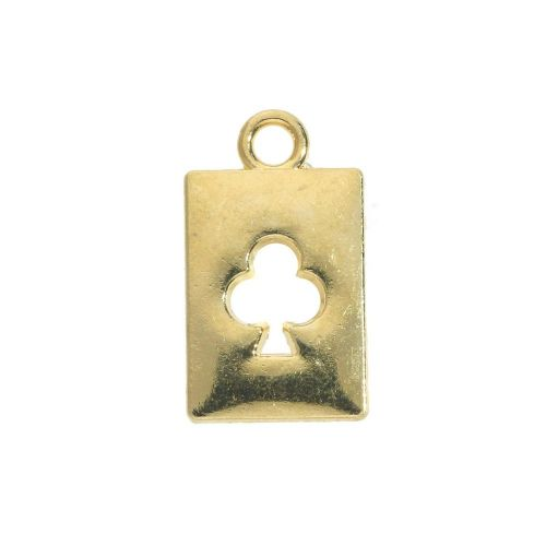 SweetCharm ™ Ace of clubs / charm pendant / 18x11x2mm / white / gold plated / 2pcs