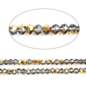 "Gold 1/2 Coated Essential Crystal Glass Faceted Rondelle Beads 8mm 16""Strand"