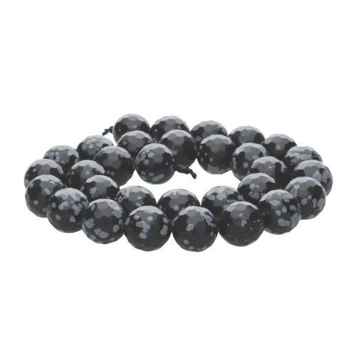 Snow obsidian / faceted round / 12mm / 32pcs