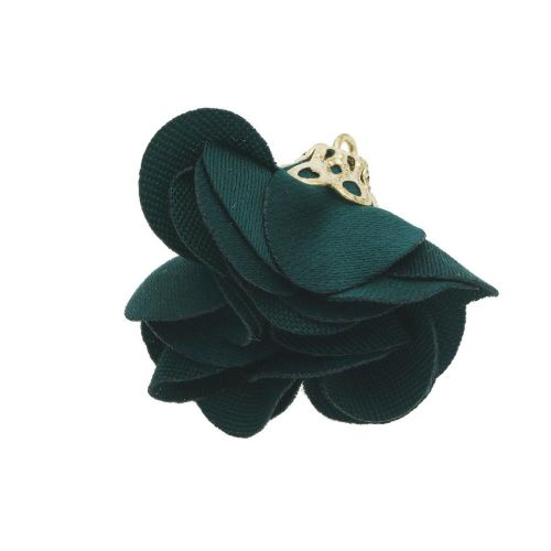 Satin Flower / with an openwork tip / 26mm / Gold Plated / bottle green / 2 pcs