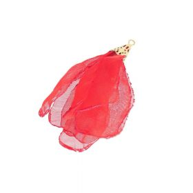 Chiffon flower / with openwork tip / 55mm / Gold Plated / red / 1pc