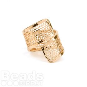 Gold Plated Sieve Seed Bead Twisted Ring Base 20x25mm Pk1