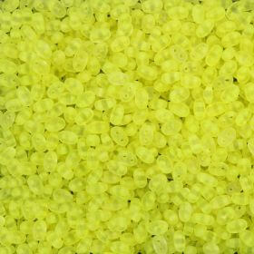 Preciosa Twin Hole Seed Beads Frosted Neon Yellow 2.5x5mm 10g
