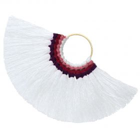 Fan tassel / viscose thread / round base / 55mm / white / 1pcs