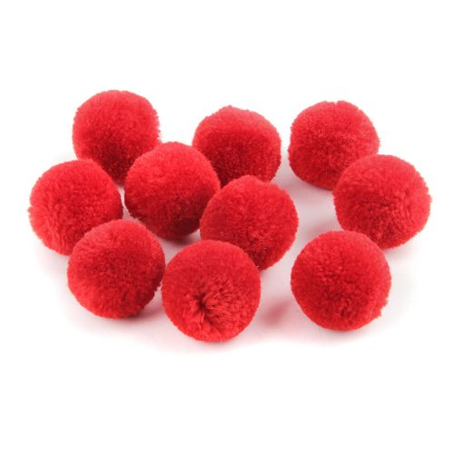Red Craft Pom Poms 18mm Pk10