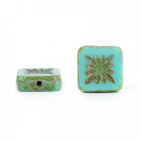 Turquoise Preciosa Czech Glass Patterned Square 10mm Pk10