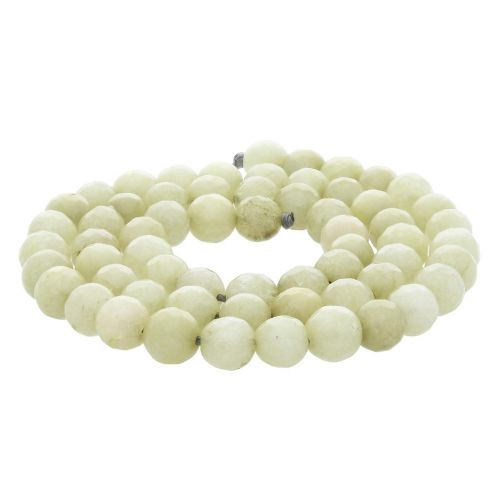 Agate / faceted round / 6mm / beige-green / 60pcs