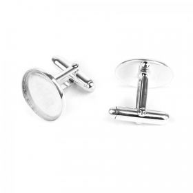 Sterling Silver 925 Cuff Links Base Round Pad 16.5mm x1Pair