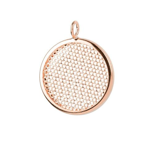 Rose Gold Plated Sieve Seed Bead Base Charm 26mm Pk1