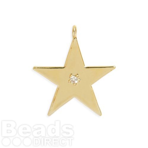 Gold Plated Brass Star Charm with Crystal 20mm Pk1