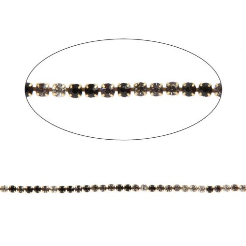 Black/Grey/White Crystal Gold Plated Cupchain 2mm 1metre