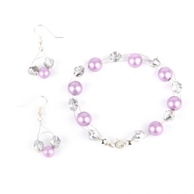 Frosted Purple Bracelet and Earrings