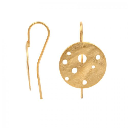 Matte Gold Plated Hammered Disk Earring Hook 15mm 1 Pair