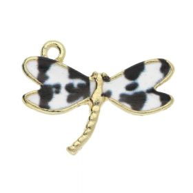 SweetCharm ™ Dragonfly / charm pendant / 16x22x2mm / gold plated / white-black / 2pcs