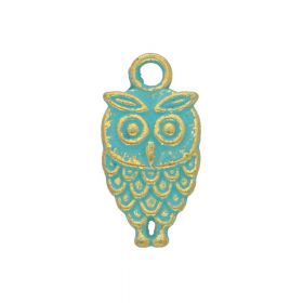 Owl / charm pendant / 18x9x2mm / antique gold - aqua / 4pcs