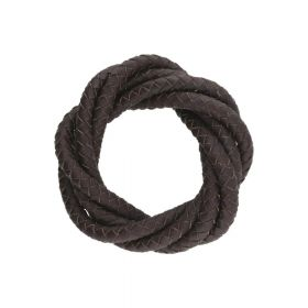 Leather cord / natural / round / braided / 6mm / brown / 1m