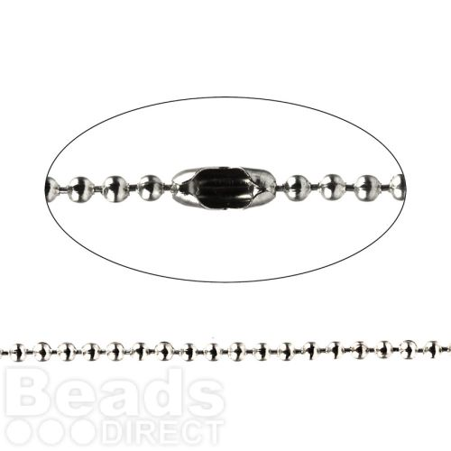 Rhodium Brass 2mm Ball Chain 1 Metre length with 2 Clasp