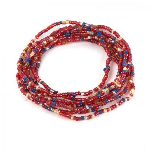 X- Red and Blue Mixed Tones Seed Bead Elastic Bracelet Pk7