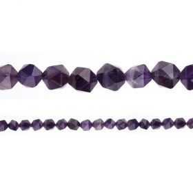 "Amethyst Faceted Nugget Semi Precious Beads 8mm 15"" Strand"