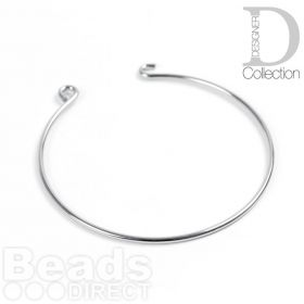 Rhodium Plated Brass Bangle Base With Hook and Eye 55mm Pk1