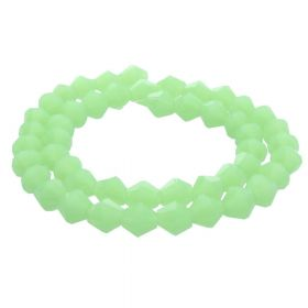 CrystaLove™ crystals / glass / bicone / 6mm / milky green / lustered / 48pcs