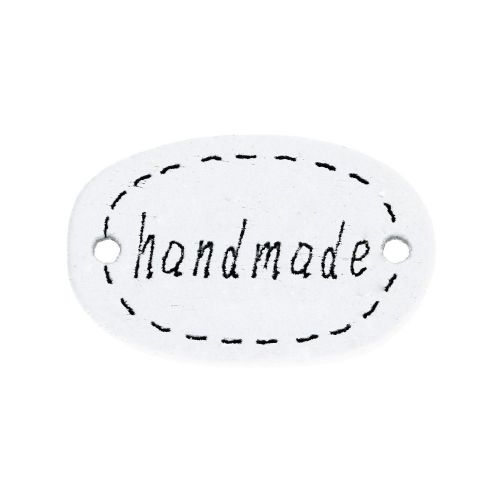 Labels for jewellery / handmade / 18x11x3mm / white / 10pcs