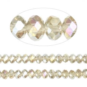 Essential Crystal Faceted 6mm Rondelle Gunmetal AB 100pack