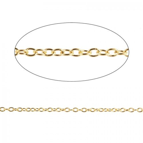X Gold Plated Trace Chain 2.5x3.5mm Pre Cut 1 Metre Length