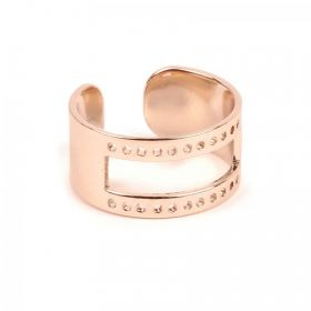 Rose Gold Plated Brass Ring Base with Cut out holes 20x10mm Pack 1