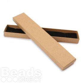 Brown Paper Long Rectangle Jewellery Box 21x4x2cm with Foam Pad Pk1