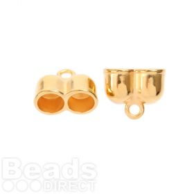 Gold Plated Zamak Double Cord Ends 10mm 14x24mm Pk2