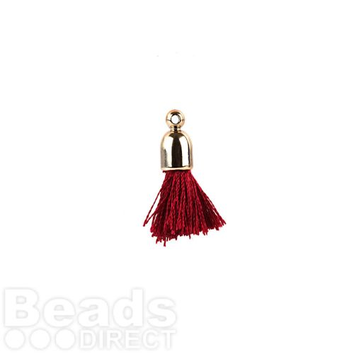 Bordeaux Pom Pom Tassel Charm with Cup End 25mm Pk2