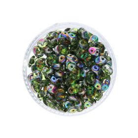 SuperDuo™ / glass beads / 2.5x5mm / Vitral / Olivine / 10g / ~140pcs
