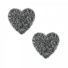 Swarovski Crystal Small Heart Self Adhesive Transfer Black CAL Pk2