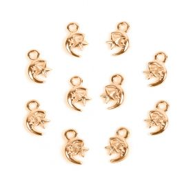Rose Gold Plated Zamak Small Moon and Star Charm 8x7mm Pk10