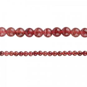"Strawberry Quartz Semi Precious Round Beads 6mm 15"" Strand"