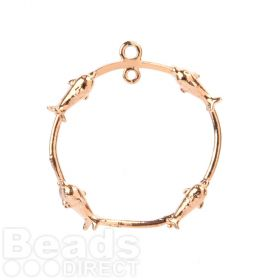 Rose Gold Plated Ring with Fish 2 Loops at Top 23mm Pk1