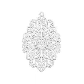 Oval / pendant filigree / surgical steel / 49x29mm / silver / 1pcs