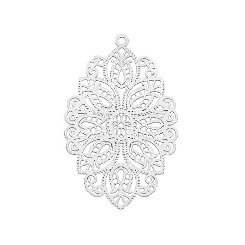 Oval / filigree pendant / surgical steel / 49x29mm / silver / 1pcs