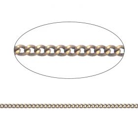 Tan/Gold Plated Brass Thin Curb Chain 1.5x1.8mm 1metre