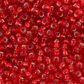 Miyuki Size 11 Round Seed Beads Silver Lined Ruby 8.5g Tube