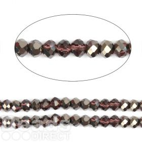 "Jet 1/2 Coated Essential Crystal Glass Faceted Rondelle Beads 4mm 16""Strand"