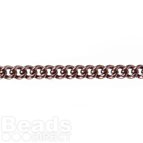 Chocolate Gold Plated Small Curb Chain 2mm Approx. 1metre
