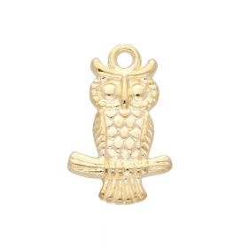 Owl / charm pendant / 19x12x3mm / gold plated / 4pcs