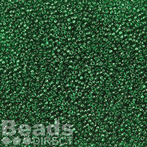 Toho Size 15 Round Seed Beads Transparent Green Emerald 10g