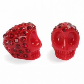 Premium Shamballa Fashion Czech Crystal Skull 10mm Bead in Dark Red Pk1