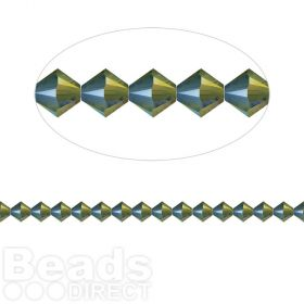 5328 Swarovski Crystal Bicones Xillion 4mm Crystal Iridescent Green Pk24