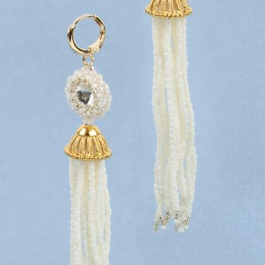 Beaded Bridal Tassel Earrings